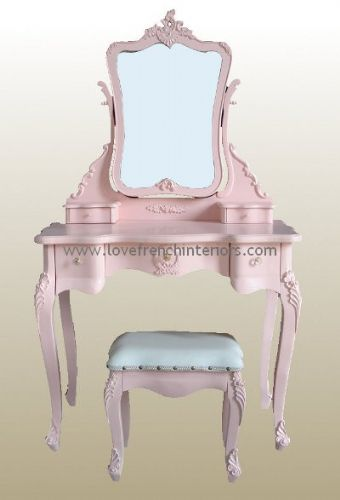 Rose Pink French Dressing Table, Mirror and Stool Set
